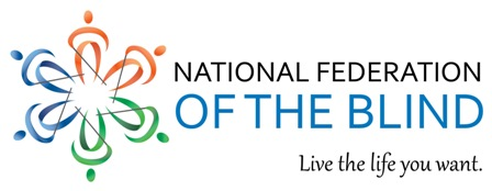 National Federation of the Blind logo with tagline: Live the life you want.