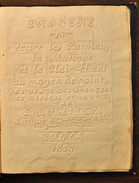 The embossed title page of Louis Braille's book.