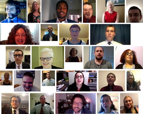 Members of the 2020 scholarship class in a collage of photos taken during their virtual interviews via Zoom.