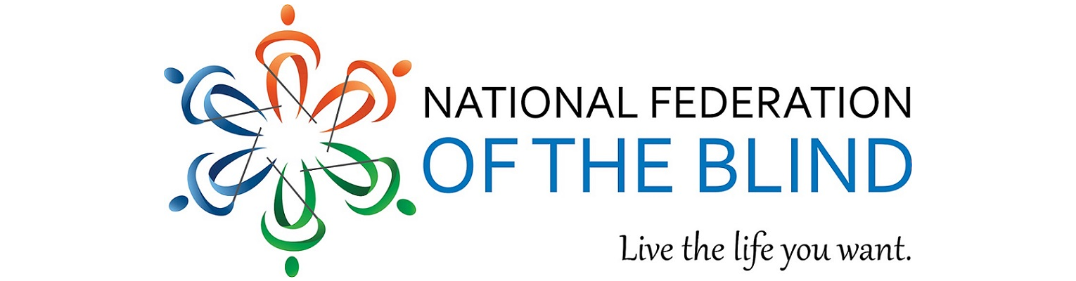 "National Federation of the Blind, ""Live the life you want"" logo."