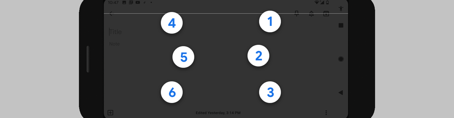 An Android device screen showing the numbers 4, 5, and 6 on one side, and 1, 2, and 3 on the other; photo credit: Google.