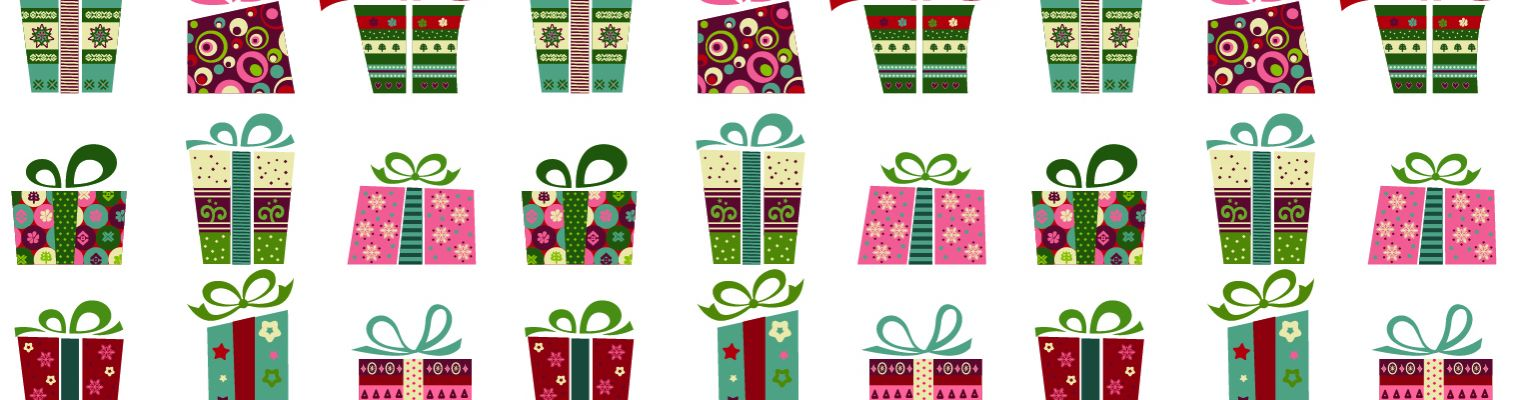 Drawings of various presents wrapped in holiday wrapping paper.