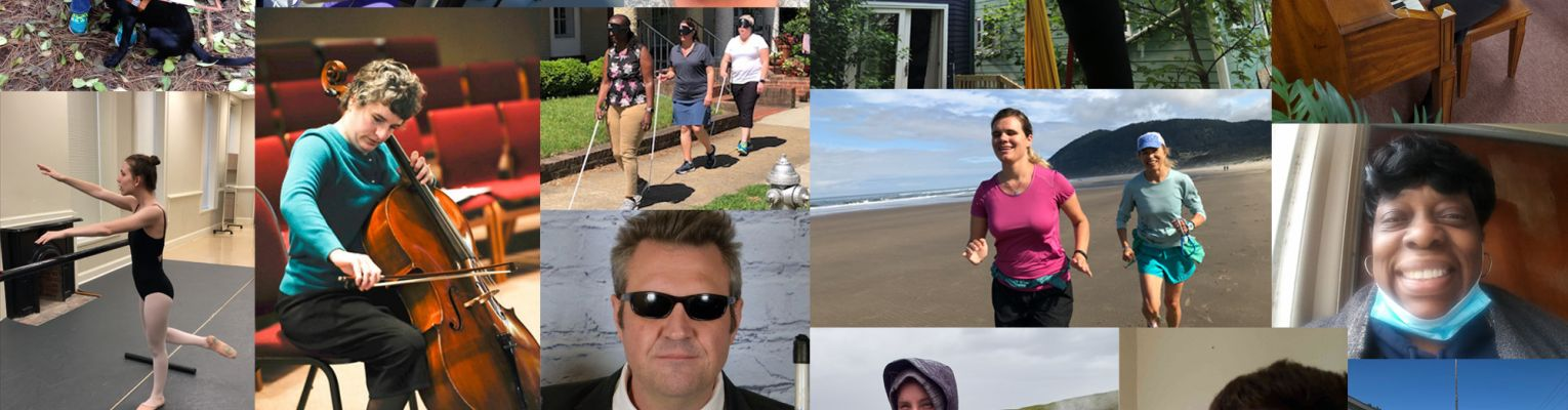 A collage of blind people doing various activities and living the lives they want.