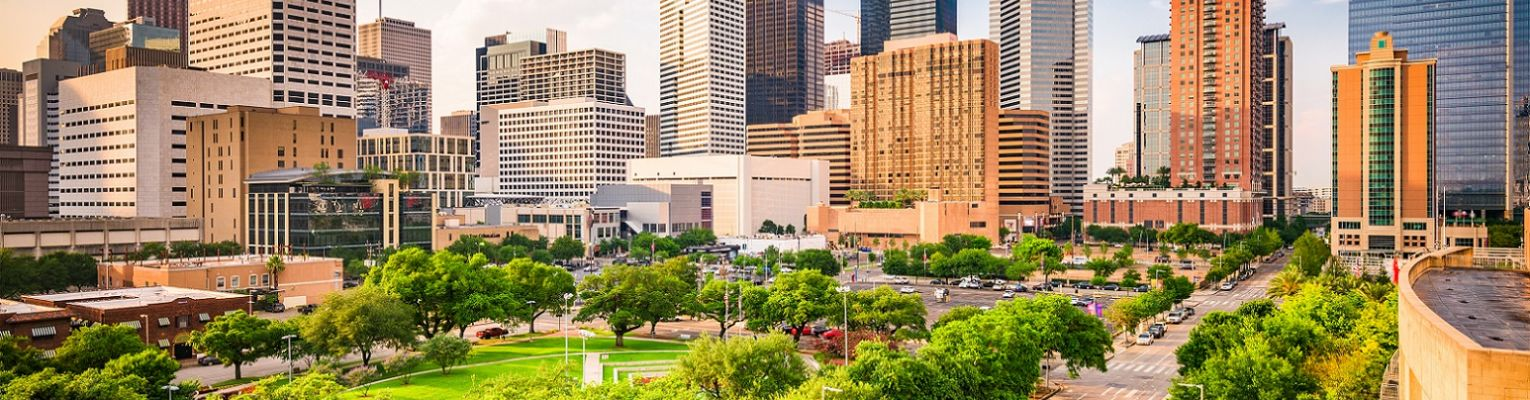The skyline of the city of Houston, Texas, showing tall buildings, roads, green trees, and a park.