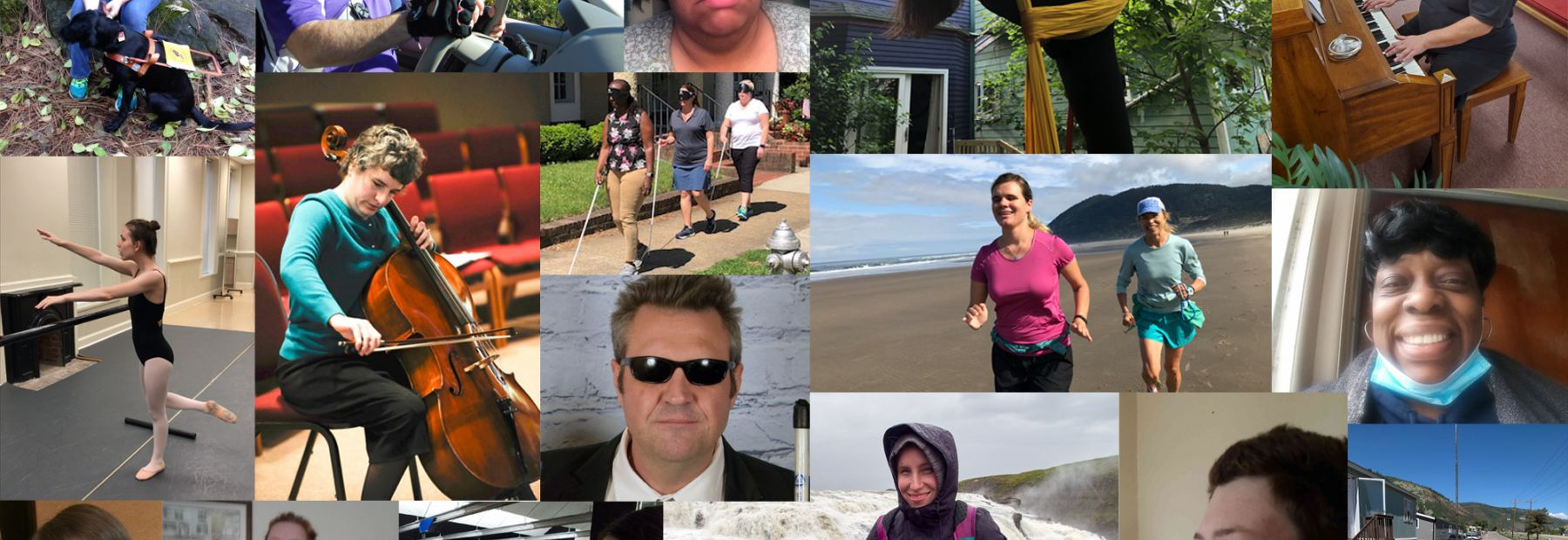 A collage of blind people doing various activities and living the lives they want in honor of Meet the Blind Month.