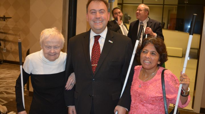 President Riccobono stands with Diane McGeorge and Buna Dahal during 2019 Washington Seminar