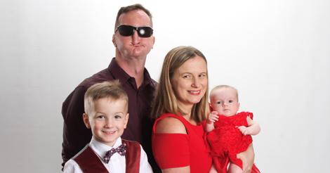 Family photo of Leo, Greg, Stacy, and Josephine.