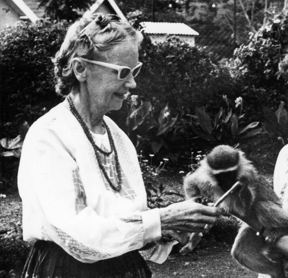 Picture of Dr. Isabel Grant interacting with a monkey