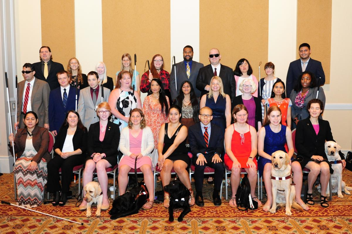 The 2017 National Federation of the Blind scholarship class poses for a group photo