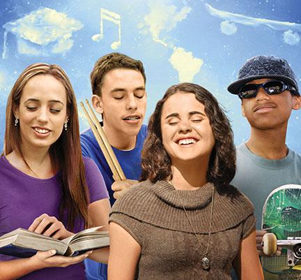Part of the movie poster for Do You Dream In Color?, featuring the four teenagers who are the subjects of the film against the backdrop of a cloudy sky. The clouds above each individual are in a shape that represents that individual's goal. Above Carina is a cloud shaped like a graduation cap, above Nick is a cloud shaped like a two musical sixteenth notes beamed together, above Sarah is a cloud shaped like North and South America, and above Connor is a cloud shaped like a skateboard.
