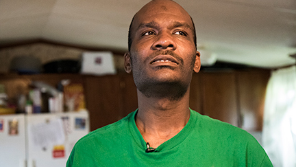 Tillman Mitchell, one of the disabled people featured in Bottom Dollars, inside his home.
