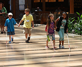 Four young blind children walk together with their canes.