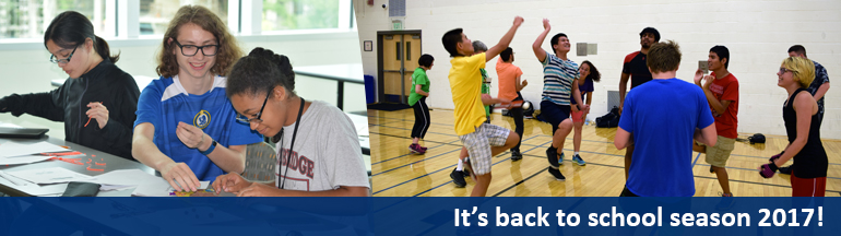 It's back to school season 2017! Left: Blind students work together in a classroom. Right: Students play together in the gym.