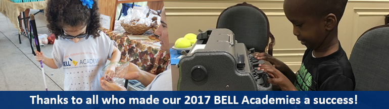 Left: A young blind girl checks out some goodies and (right) a blind boy learns to use a Braille writer at the NFB BELL Academy. Thanks to all who made our 2017 BELL Academies a success!