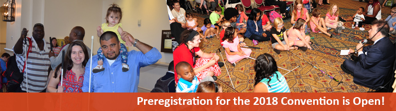 Preregistration for the 2018 Convention is Open! Left: Blind parents smile and pose with their daughter on dad's shoulders. Right: NFB President Mark Riccobono sits on the floor with a group of blind kids and speaks with them.