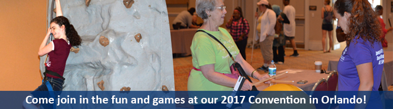 There is so much great stuff to check out at convention! Last year at our NF-BE Healthy Fair a young blind girl made it to the top of the climbing wall (left) and a senior woman learned about cardio drumming (right)!
