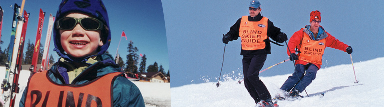 Left: A young blind girl smiles on the slopes wearing her blind skier vest. Right: A blind adult skis down a hill with their sighted guide beside them.