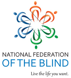 National Federation of the Blind logo and tagline live the life you want