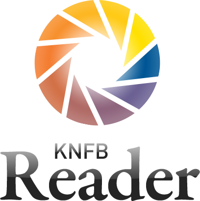 KNFB Reader Logo made of multicolored wedges arranged in an open circle that resembles the iris of an eye.