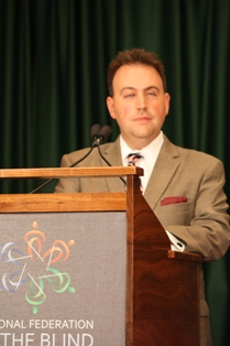 NFB President Mark Riccobono delivering a speech.