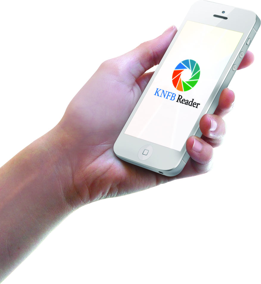 Hand holding mobile phone with KNFB Reader logo on the screen.