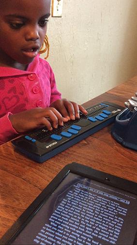 Abi Jepsen uses a BrailleNote Apex.
