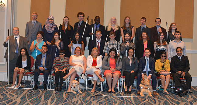 The thirty scholarship winners from 2018 pose for a group shot at the 2018 National Convention.