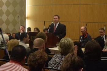 Mark Riccobono addresses the crowd at the Great Gathering In.