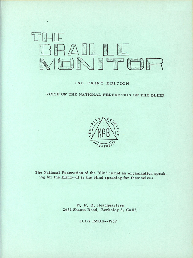 The original print cover of the Braille Monitor from 1957.