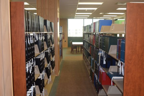 Stacks of books inside the Jacobus tenBroek Library.