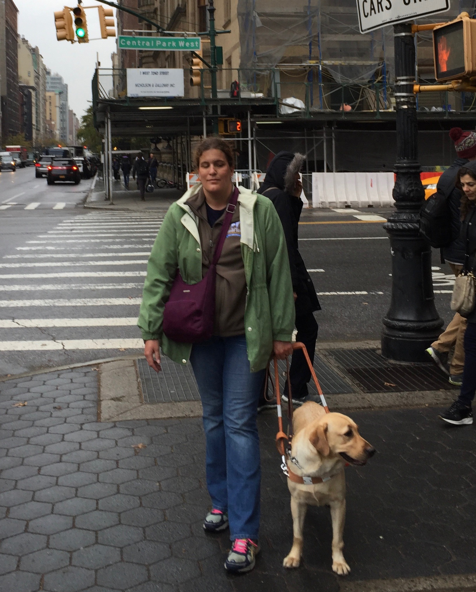 A woman and her guide dog walk on a sidewalk in New York City.