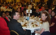 Conventioneers enjoying themselves at the banquet