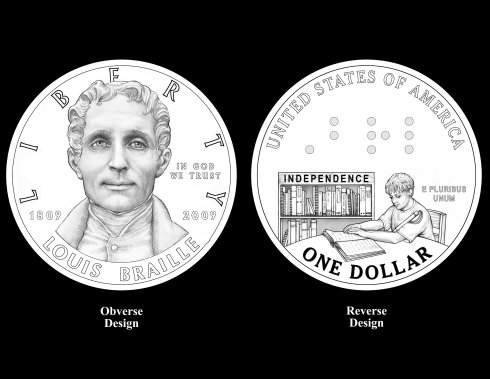 Louis Braille Bicentennial Coin, drawing of the obverse and reverse sides