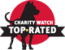 "Charity Watch logo; ""Charity Watch; TOP-RATED."""