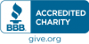 "BBB Wise Giving Alliance logo; ""BBB Accredited Charity, give.org"""